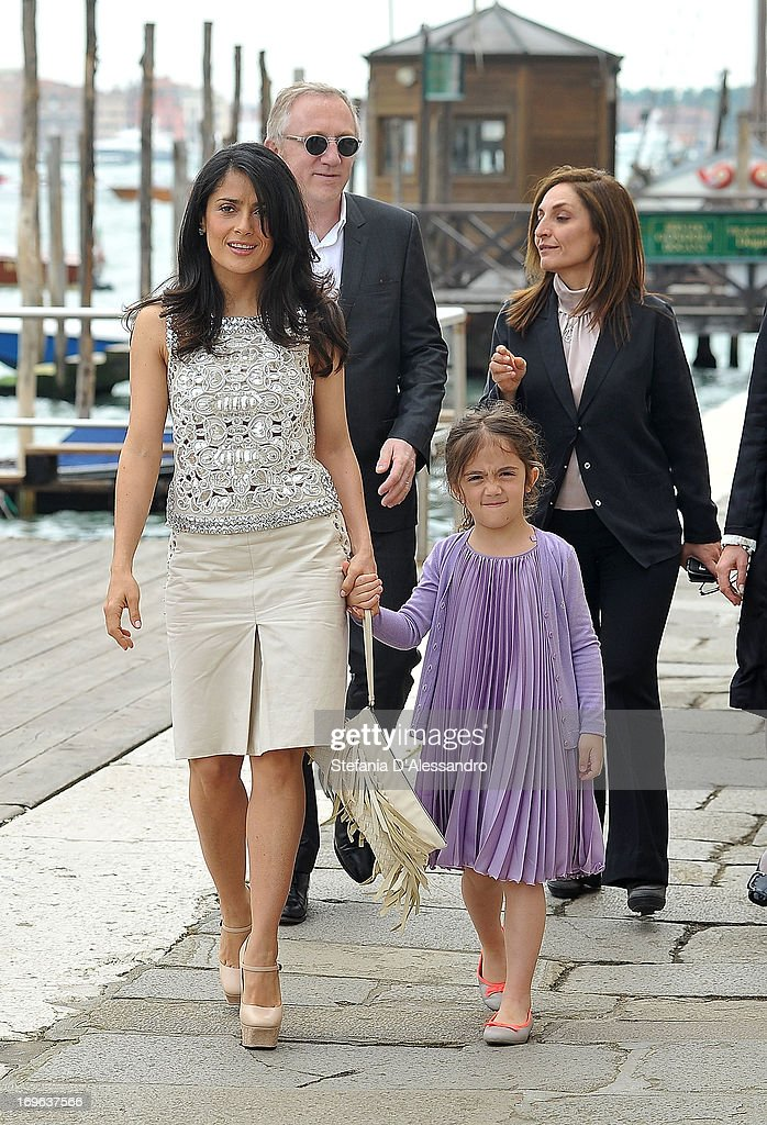 <a gi-track='captionPersonalityLinkClicked' href=/galleries/search?phrase=Salma+Hayek&family=editorial&specificpeople=201844 ng-click='$event.stopPropagation()'>Salma Hayek</a> and Valentina Pinault attend Prima Materia VIP Preview on May 29, 2013 in Venice, Italy.