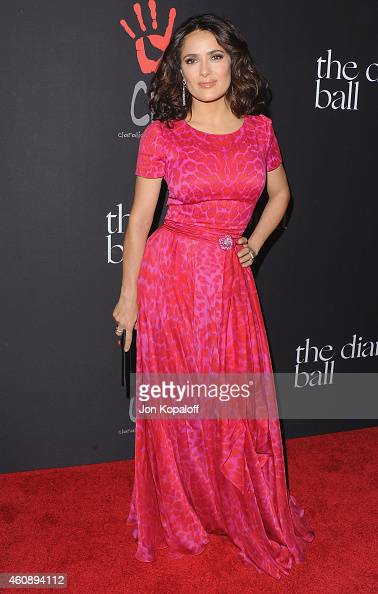 Salma Hayek arrives at Rihanna's First Annual Diamond Ball at The Vineyard on December 11 2014 in Beverly Hills California