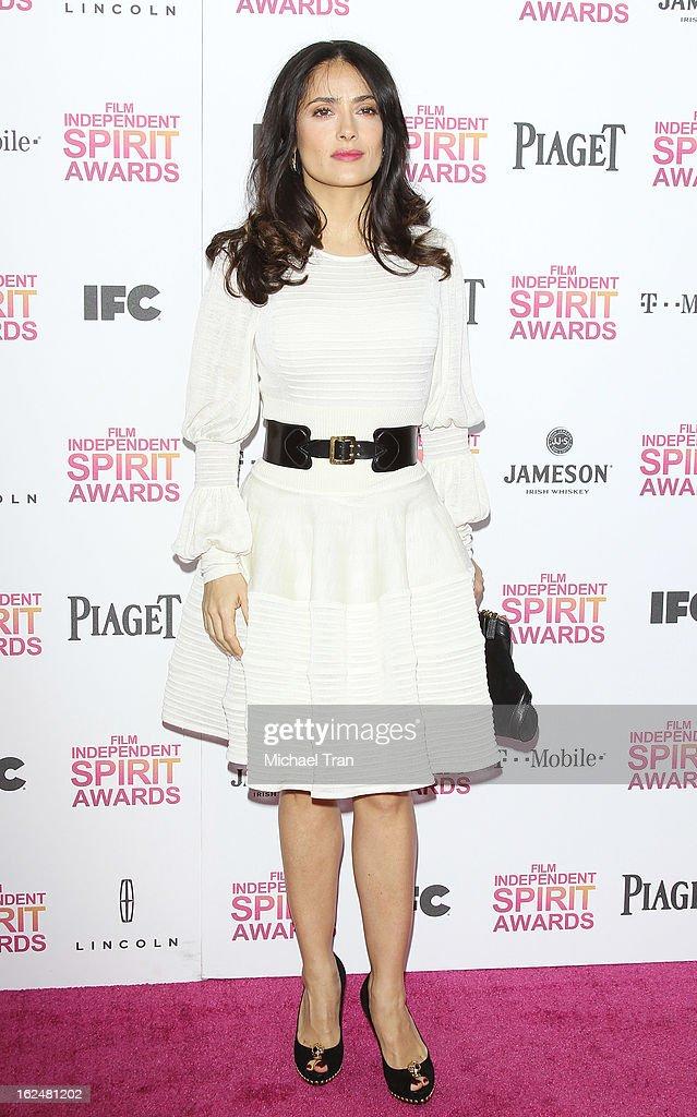 Salma Hayek arrives at the 2013 Film Independent Spirit Awards held on February 23, 2013 in Santa Monica, California.