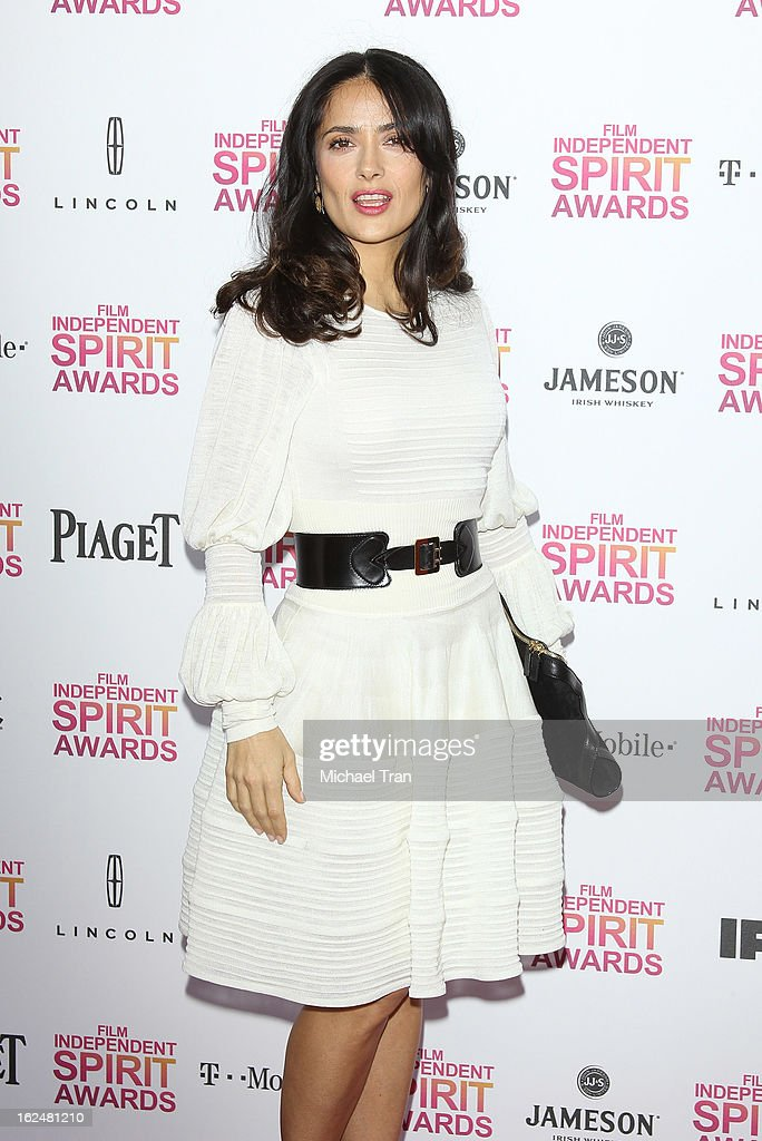 Salma Hayek arrives at the 2013 Film Independent Spirit Awards held on February 23, 2013 in Santa Monica, California.