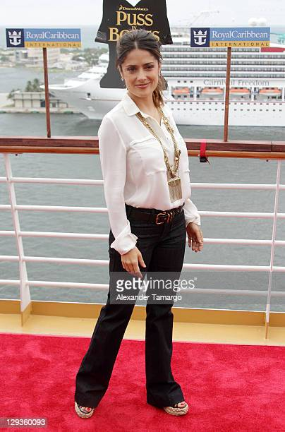 Salma Hayek arrives at the Allure of the Seas premiere of 'Puss In Boots' at Port Everglades on October 16 2011 in Fort Lauderdale Florida
