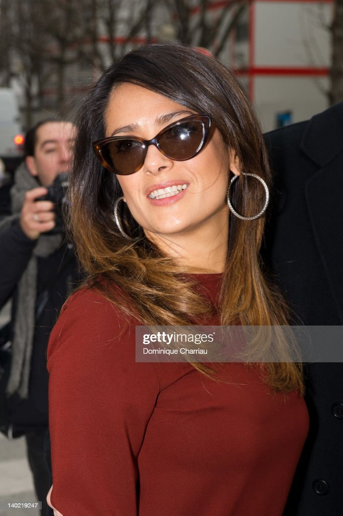 Salma Hayek arrives at the Balenciaga Ready-To-Wear Fall/Winter 2012 show as part of Paris Fashion Week on March 1, 2012 in Paris, France.