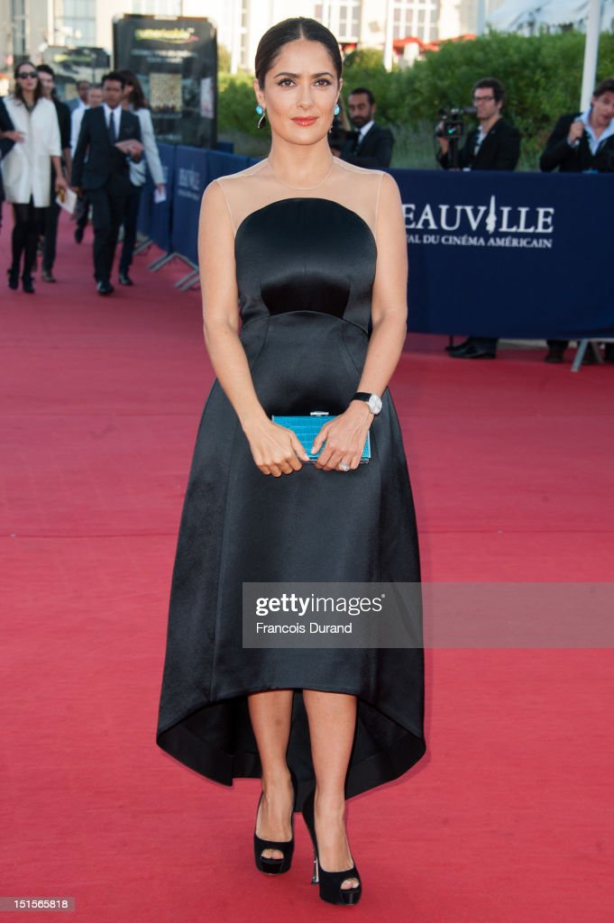 Salma Hayek arrives at the closing ceremony of the 38th Deauville American Film Festival on September 8, 2012 in Deauville, France.