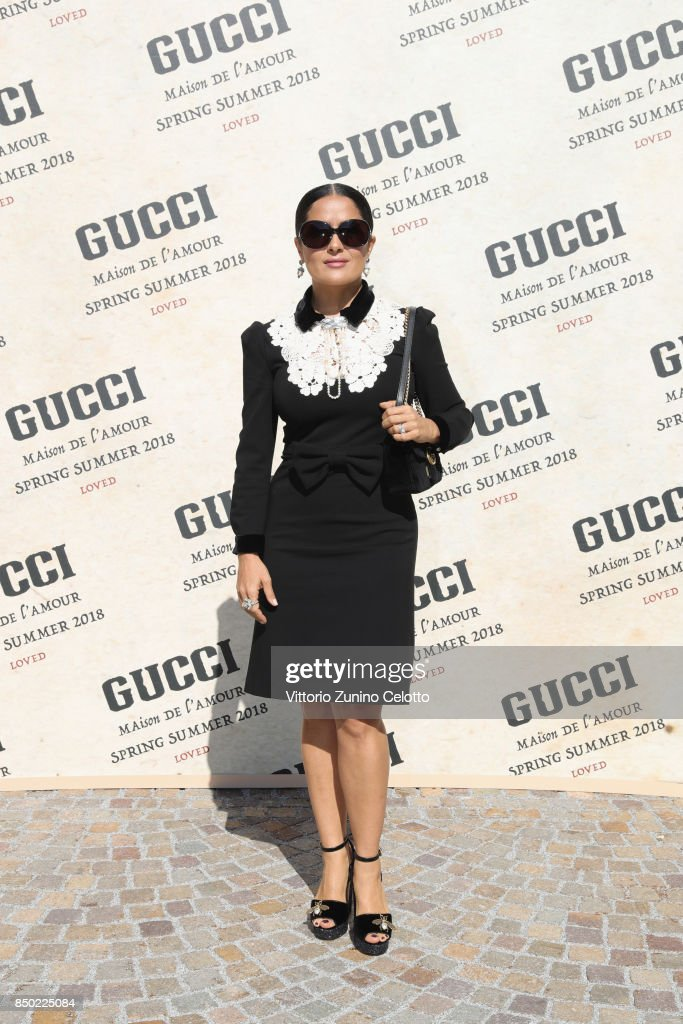 Salma Hayek arrives at the Gucci show during Milan Fashion Week Spring/Summer 2018 on September 20, 2017 in Milan, Italy.