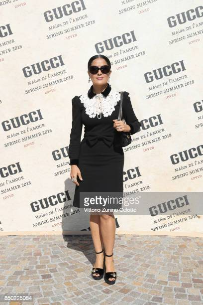Salma Hayek arrives at the Gucci show during Milan Fashion Week Spring/Summer 2018 on September 20 2017 in Milan Italy