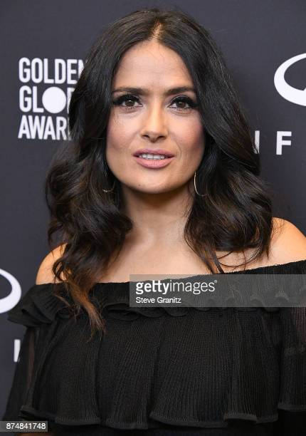 Salma Hayek arrives at the Hollywood Foreign Press Association And InStyle Celebrate The 75th Anniversary Of The Golden Globe Awards at Catch LA on...