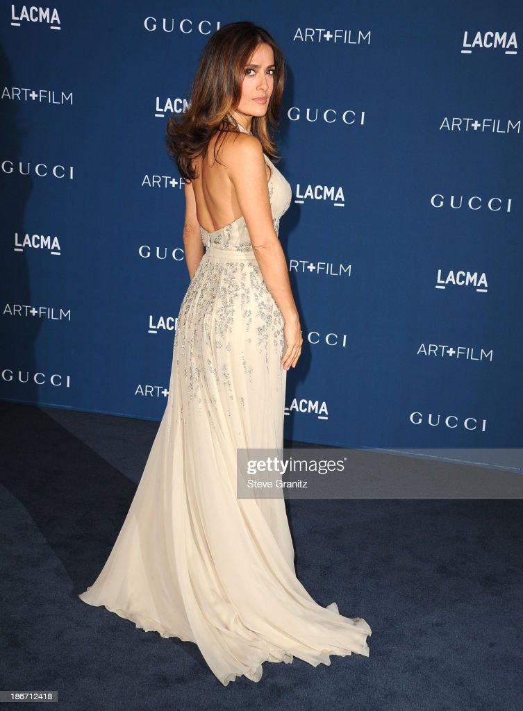 Salma Hayek arrives at the LACMA 2013 Art + Film Gala at LACMA on November 2, 2013 in Los Angeles, California.