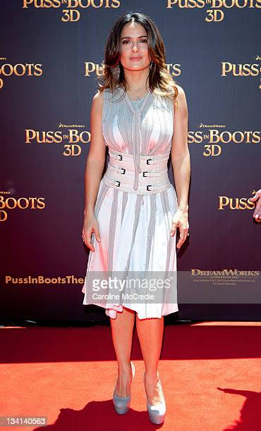 Salma Hayek arrives at the 'Puss in Boots' Australian Premiere at HOYTS Entertainment Quarter on November 27 2011 in Sydney Australia