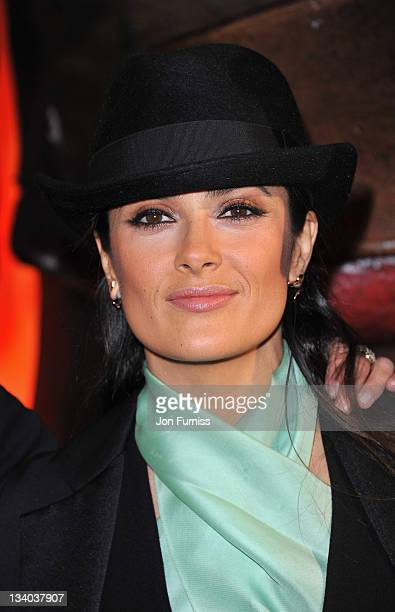Salma Hayek arrives at the UK Premiere of 'Puss in Boots' at Empire in Leicester Square on November 24 2011 in London England