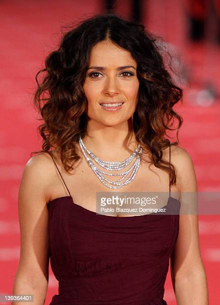Salma Hayek arrives to Goya Cinema Awards 2012 ceremony at the Palacio Municipal de Congresos on February 19 2012 in Madrid Spain