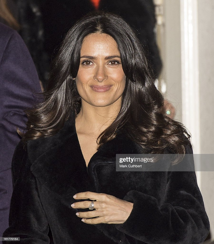<a gi-track='captionPersonalityLinkClicked' href=/galleries/search?phrase=Salma+Hayek&family=editorial&specificpeople=201844 ng-click='$event.stopPropagation()'>Salma Hayek</a> at the Downing Street reception during London Fashion Week Fall/Winter 2013/14 at 10 Downing Street on February 15, 2013 in London, England.