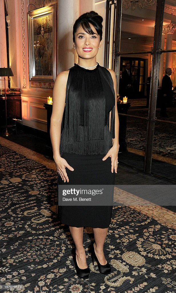 Salma Hayek attends a drinks reception at the British Fashion Awards 2012 at The Savoy Hotel on November 27, 2012 in London, England.