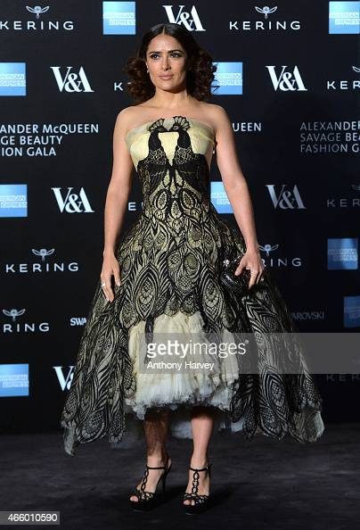 Salma Hayek attends a private view for the 'Alexander McQueen Savage Beauty' exhibition at Victoria Albert Museum on March 12 2015 in London England