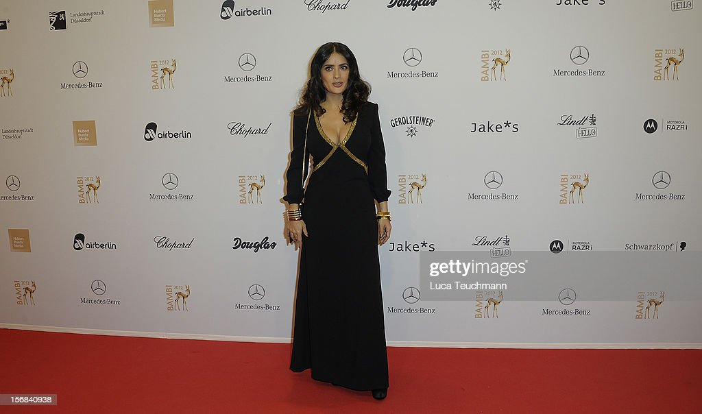 <a gi-track='captionPersonalityLinkClicked' href=/galleries/search?phrase=Salma+Hayek&family=editorial&specificpeople=201844 ng-click='$event.stopPropagation()'>Salma Hayek</a> attends 'BAMBI Awards 2012' at the Stadthalle Duesseldorf on November 22, 2012 in Duesseldorf, Germany.