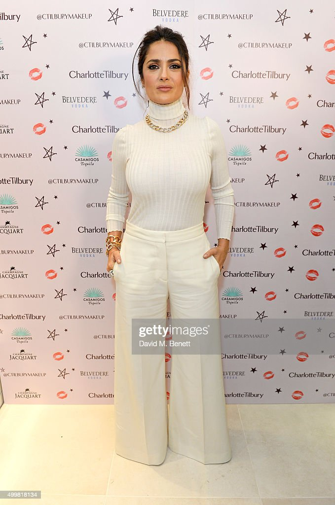 <a gi-track='captionPersonalityLinkClicked' href=/galleries/search?phrase=Salma+Hayek&family=editorial&specificpeople=201844 ng-click='$event.stopPropagation()'>Salma Hayek</a> attends Charlotte Tilbury's naughty Christmas party celebrating the launch of Charlotte's new flagship beauty boutique in Covent Garden on December 3, 2015 in London, England.