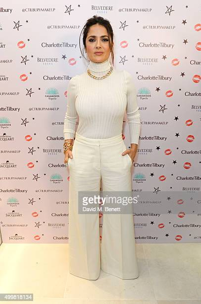 Salma Hayek attends Charlotte Tilbury's naughty Christmas party celebrating the launch of Charlotte's new flagship beauty boutique in Covent Garden...