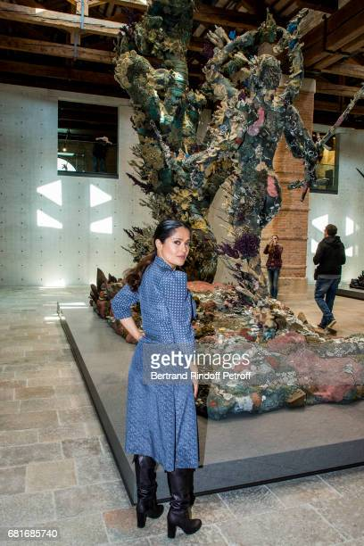 Salma Hayek attends Damien Hirst's exibition at Punta Della Dogana during the 57th Venice Biennale on May 10 2017 in Venice Italy