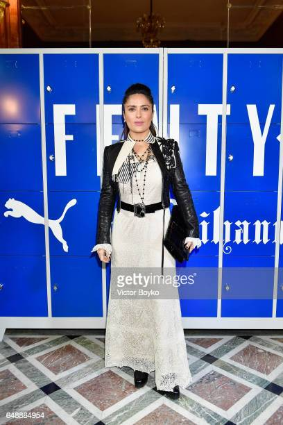 Salma Hayek attends FENTY PUMA by Rihanna Fall / Winter 2017 Collection at Bibliotheque Nationale de France on March 6 2017 in Paris France