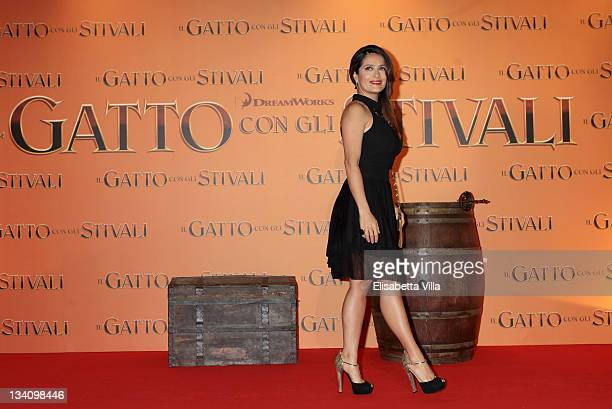 Salma Hayek attends 'Puss in Boots' Italian premiere at the UCI Cinema on November 25 2011 in Rome Italy