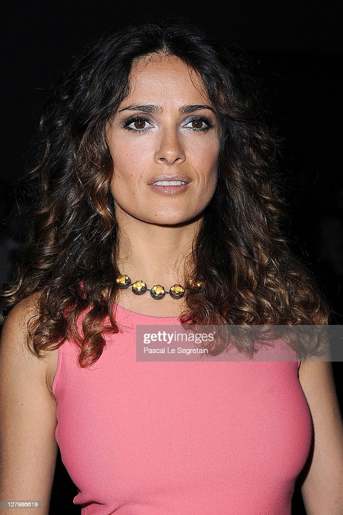 <a gi-track='captionPersonalityLinkClicked' href=/galleries/search?phrase=Salma+Hayek&family=editorial&specificpeople=201844 ng-click='$event.stopPropagation()'>Salma Hayek</a> attends the Alexander McQueen Ready to Wear Spring / Summer 2012 show during Paris Fashion Week on October 4, 2011 in Paris, France.