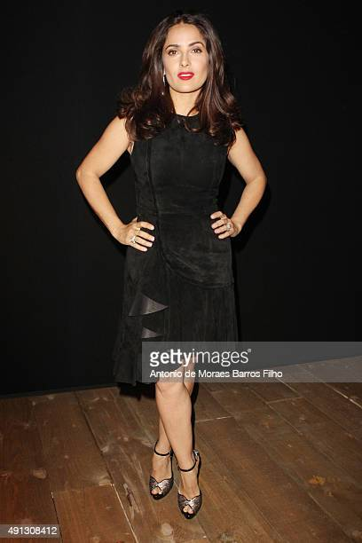 Salma Hayek attends the Alexander McQueen show as part of the Paris Fashion Week Womenswear Spring/Summer 2016 on October 4 2015 in Paris France