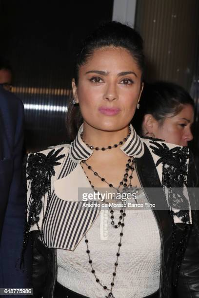 Salma Hayek attends the Alexander McQueen show as part of the Paris Fashion Week Womenswear Fall/Winter 2017/2018 on March 6 2017 in Paris France