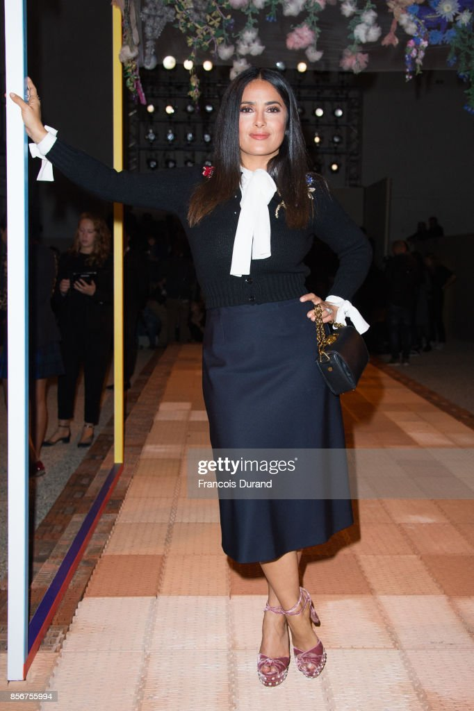 Salma Hayek attends the Alexander McQueen show as part of the Paris Fashion Week Womenswear Spring/Summer 2018 on October 2, 2017 in Paris, France.