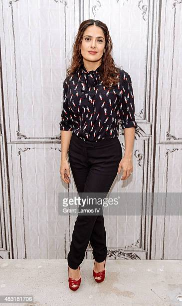 Salma Hayek attends the AOL BUILD Speaker Series 'Kahlil Gibran's The Prophet' at AOL Studios In New York on August 6 2015 in New York City