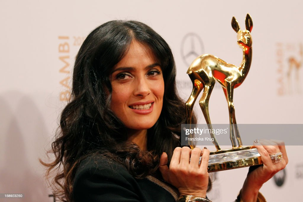 <a gi-track='captionPersonalityLinkClicked' href=/galleries/search?phrase=Salma+Hayek&family=editorial&specificpeople=201844 ng-click='$event.stopPropagation()'>Salma Hayek</a> attends the 'BAMBI Awards 2012' at the Stadthalle Duesseldorf on November 22, 2012 in Duesseldorf, Germany.