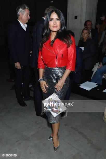 Salma Hayek attends the Christopher Kane show during London Fashion Week September 2017 on September 18 2017 in London England