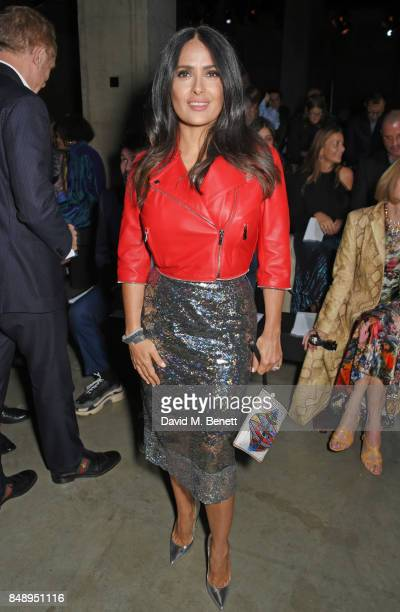 Salma Hayek attends the Christopher Kane SS18 catwalk show during London Fashion Week September 2017 at The Tanks at Tate Modern on September 18 2017...