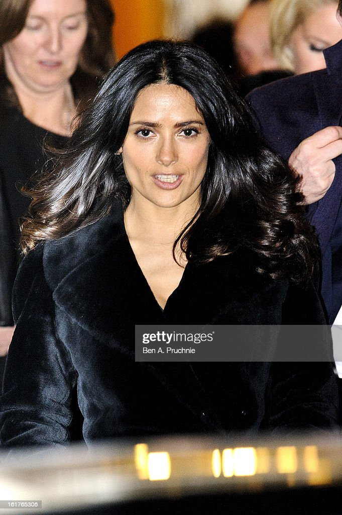 <a gi-track='captionPersonalityLinkClicked' href=/galleries/search?phrase=Salma+Hayek&family=editorial&specificpeople=201844 ng-click='$event.stopPropagation()'>Salma Hayek</a> attends the Downing Street reception during London Fashion Week Fall/Winter 2013/14 at 10 Downing Street on February 15, 2013 in London, England.