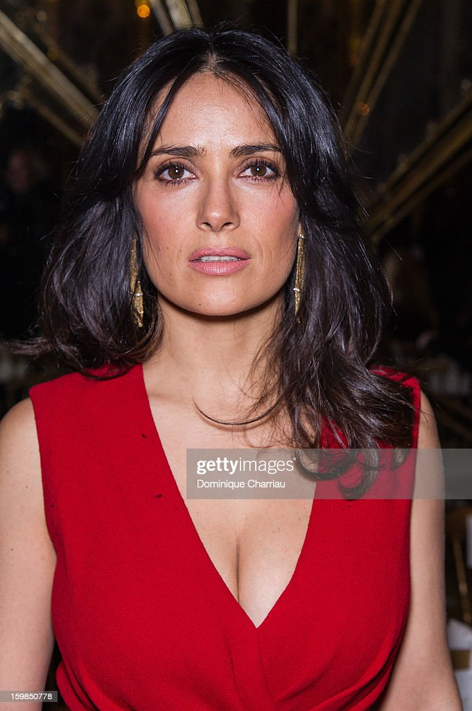 <a gi-track='captionPersonalityLinkClicked' href=/galleries/search?phrase=Salma+Hayek&family=editorial&specificpeople=201844 ng-click='$event.stopPropagation()'>Salma Hayek</a> attends the Giambattista Valli Spring/Summer 2013 Haute-Couture show as part of Paris Fashion Week at on January 21, 2013 in Paris, France.