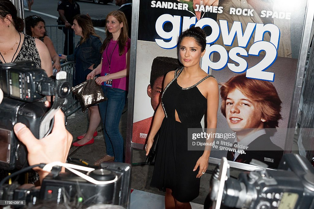 <a gi-track='captionPersonalityLinkClicked' href=/galleries/search?phrase=Salma+Hayek&family=editorial&specificpeople=201844 ng-click='$event.stopPropagation()'>Salma Hayek</a> attends the 'Grown Ups 2' New York Premiere at AMC Lincoln Square Theater on July 10, 2013 in New York City.