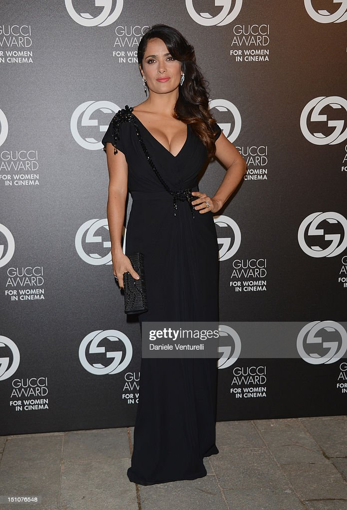 <a gi-track='captionPersonalityLinkClicked' href=/galleries/search?phrase=Salma+Hayek&family=editorial&specificpeople=201844 ng-click='$event.stopPropagation()'>Salma Hayek</a> attends the Gucci Award for Women in Cinema at The 69th Venice International Film Festival at Hotel Cipriani on August 31, 2012 in Venice, Italy.
