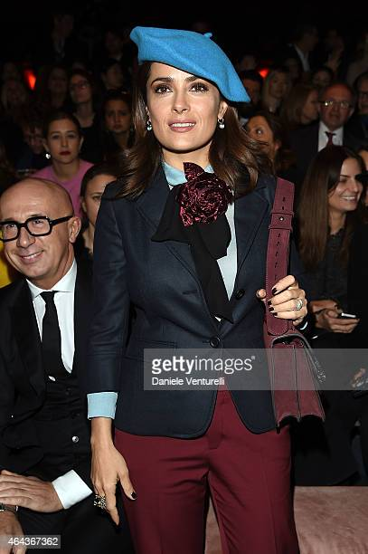 Salma Hayek attends the Gucci show during the Milan Fashion Week Autumn/Winter 2015 on February 25 2015 in Milan Italy