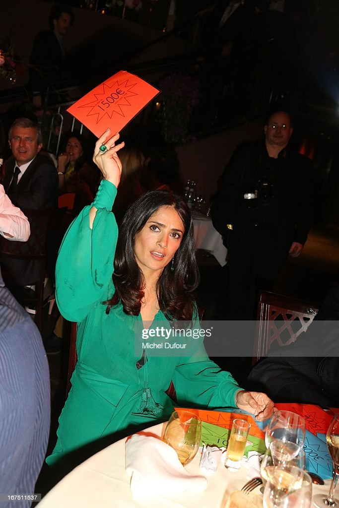 <a gi-track='captionPersonalityLinkClicked' href=/galleries/search?phrase=Salma+Hayek&family=editorial&specificpeople=201844 ng-click='$event.stopPropagation()'>Salma Hayek</a> attends the 'Les P'tits Cracks' charity dinner at Pavillon Champs-Elysees on April 25, 2013 in Paris, France.