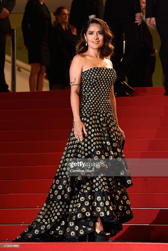<a gi-track='captionPersonalityLinkClicked' href=/galleries/search?phrase=Salma+Hayek&family=editorial&specificpeople=201844 ng-click='$event.stopPropagation()'>Salma Hayek</a> attends the Premiere of 'Il Racconto Dei Racconti' ('Tale Of Tales') during the 68th annual Cannes Film Festival on May 14, 2015 in Cannes, France.
