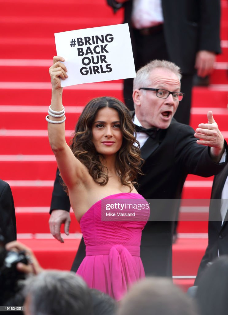 <a gi-track='captionPersonalityLinkClicked' href=/galleries/search?phrase=Salma+Hayek&family=editorial&specificpeople=201844 ng-click='$event.stopPropagation()'>Salma Hayek</a> attends the 'Saint Laurent' Premiere at the 67th Annual Cannes Film Festival on May 17, 2014 in Cannes, France.