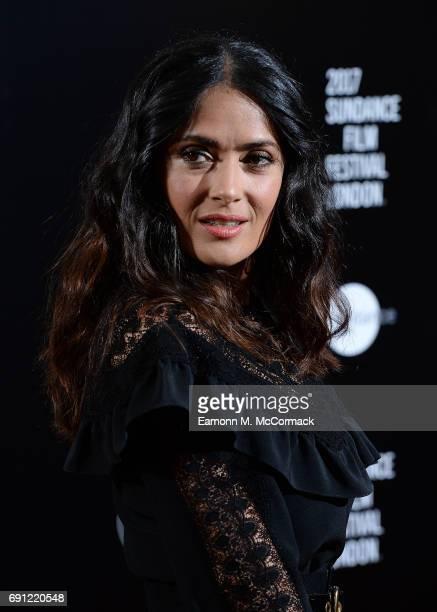 Salma Hayek attends the screening of 'Miguel Arteta's Beatriz At Dinner' at Mayfiar Hotel on June 1 2017 in London England