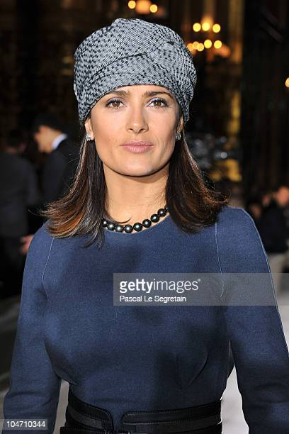 Salma Hayek attends the Stella McCartney Ready to Wear Spring/Summer 2011 show during Paris Fashion Week at Opera Garnier on October 4 2010 in Paris...