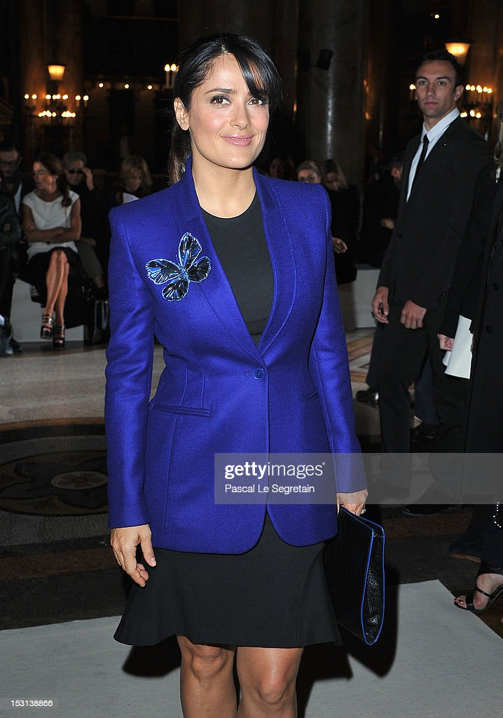 Salma Hayek attends the Stella McCartney Spring / Summer 2013 show as part of Paris Fashion Week on October 1, 2012 in Paris, France.