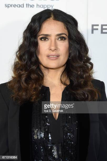 Salma Hayek attends the Tribeca Shorts New York Group Therapy at Regal Battery Park Cinemas on April 21 2017 in New York City