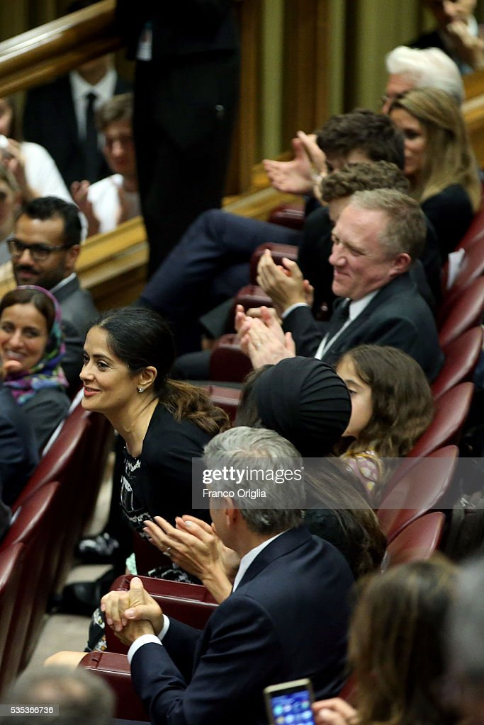 Salma Hayek attends 'Un Muro o Un Ponte' Seminary held by Pope Francis at the Paul VI Hall on May 29, 2016 in Vatican City, Vatican.