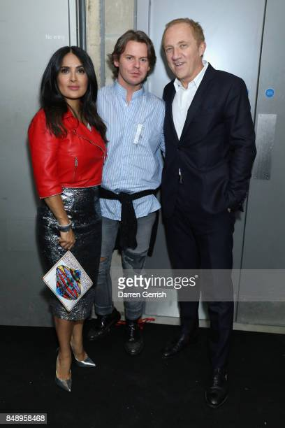 Salma Hayek Christopher Kane and FrancoisHenri Pinault attend the Christopher Kane show during London Fashion Week September 2017 on September 18...