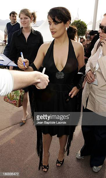 Salma Hayek during 2005 Cannes Film Festival Salma Hayek and Scarlett Johansson Sighting at The Carlton Hotel in Cannes France