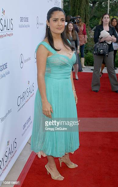 Salma Hayek during Chrysalis's 5th Annual Butterfly Ball Arrivals at Italian villa of Carla and Fred Sands in Bel Air California United States