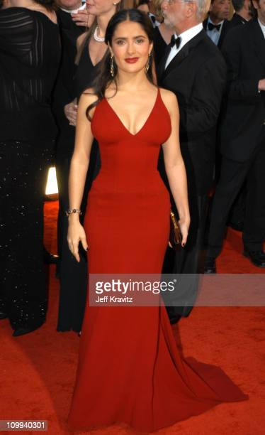 Salma Hayek during The 60th Annual Golden Globe Awards Arrivals at Beverly Hilton Hotel in Beverly Hills CA United States