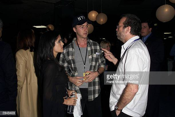 Salma Hayek Edward Norton and Eric Clapton backstage at The Concert for New York City to benefit the victims of the World Trade Center disaster at...