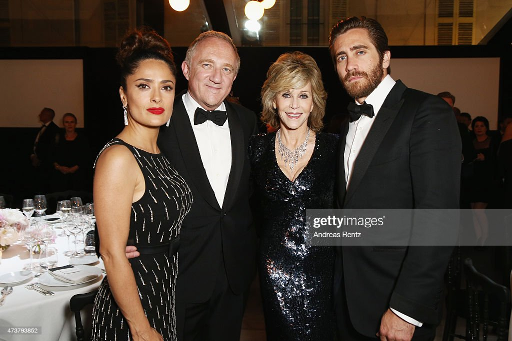 Salma Hayek, Francois-Henry Pinault, Jane Fonda and Jake Gyllenhaal attend the Kering Official Cannes Dinner at Place de la Castre on May 17, 2015 in Cannes, France.